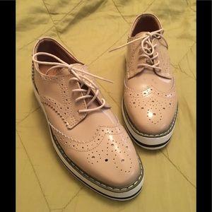 Shoes - Nude Platform Oxford shoes